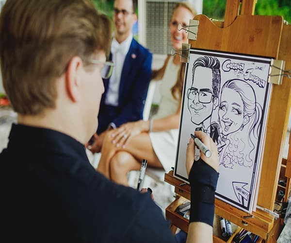 Caricature Painter is another great way to entertain your guests at the wedding reception