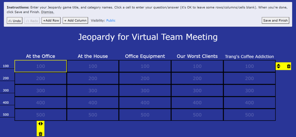 A Jeopardy Labs table for playing virtual team meeting games.