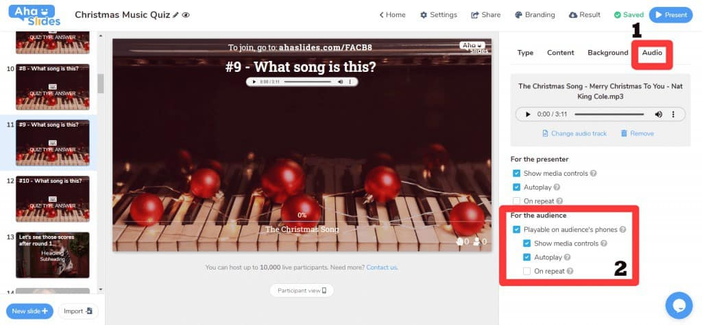 How to choose audience-led audio playback on a Christmas music quiz on AhaSlides.