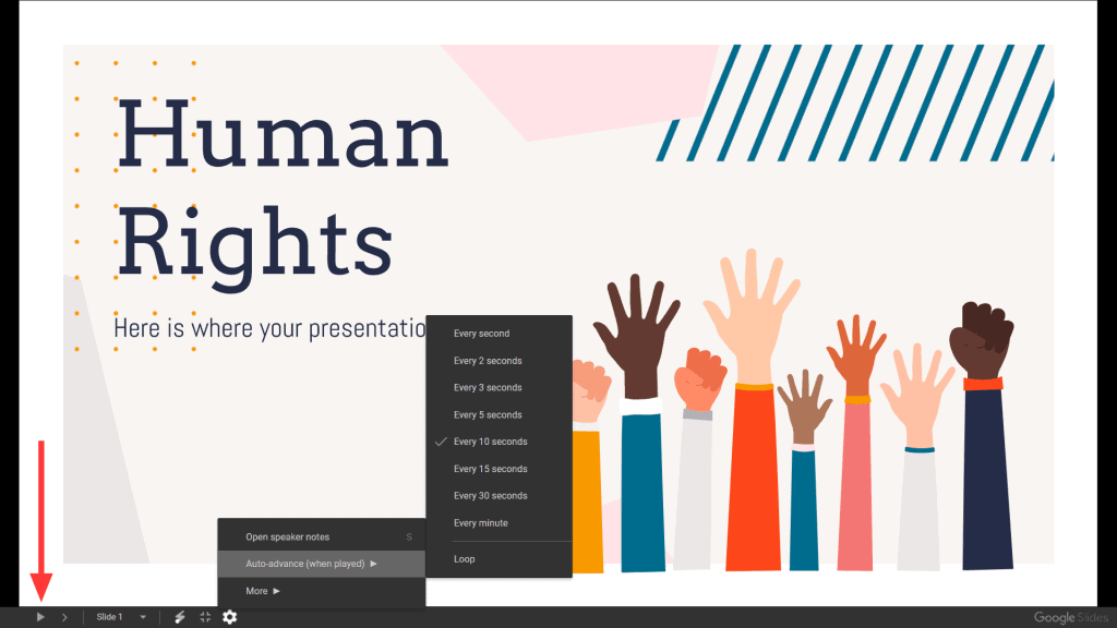 Automatisches Vorrücken einer Folie in Ihrer interaktiven Google Slides-Präsentation.