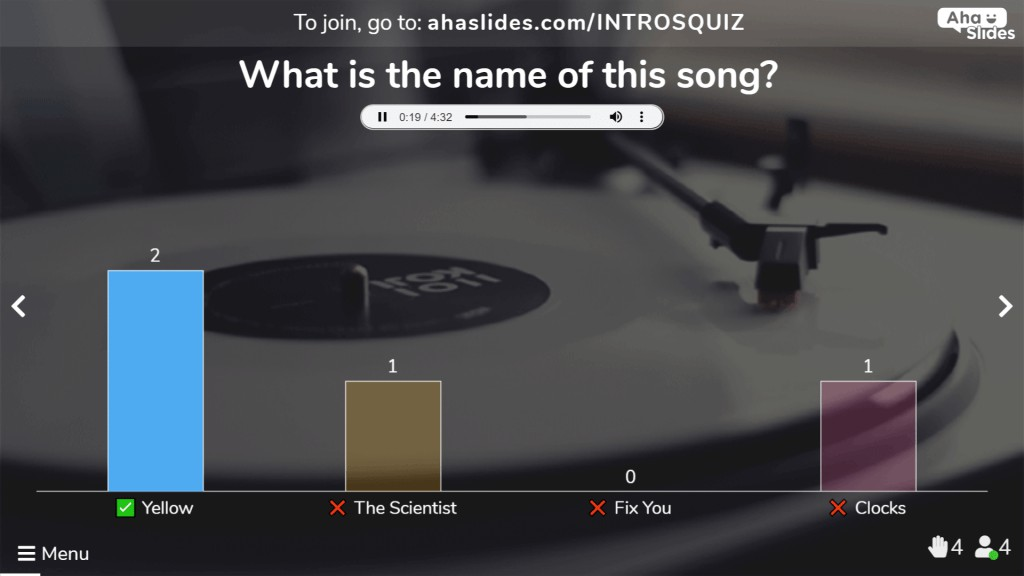 a multiple choice sound quiz type for an interactive pop music quiz on AhaSlides.