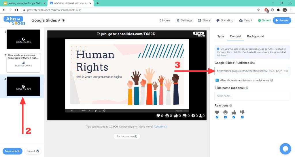 So integrieren Sie eine Umfrage in eine interaktive Google Slides-Präsentation auf AhaSlides.