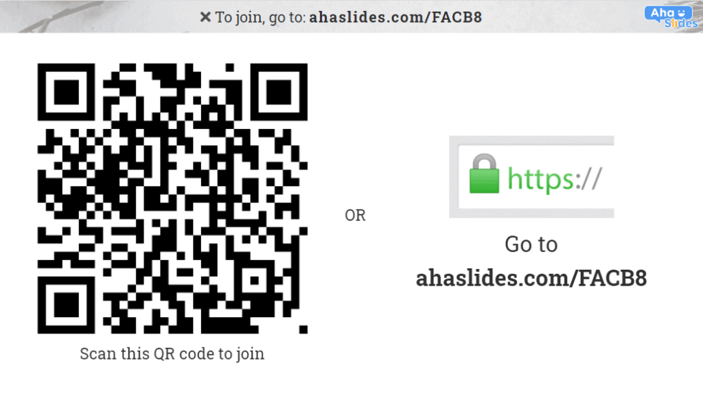 Using a QR code to enter a quiz on AhaSlides.