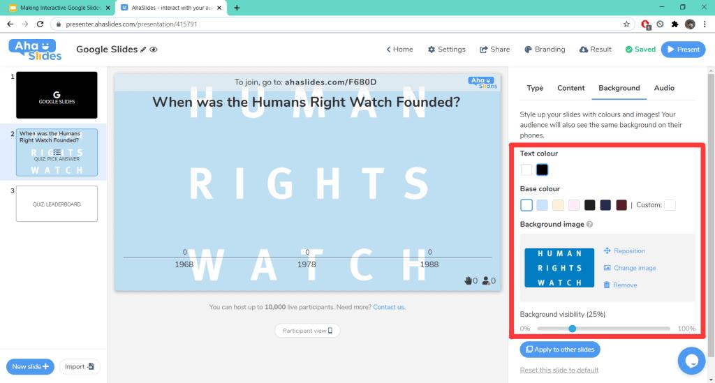 Festlegen des Hintergrunds für ein Quiz in einer interaktiven Google Slides-Präsentation auf AhaSlides.