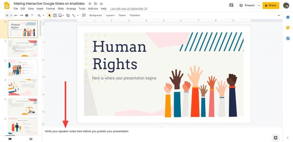 Veröffentlichen von Sprechernotizen auf Google Slides