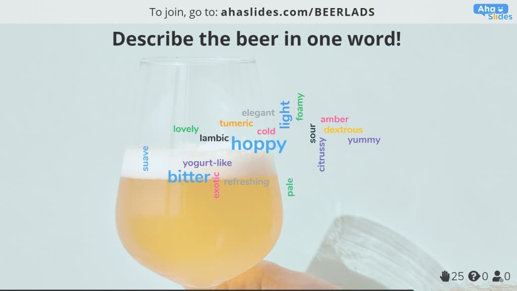 A word cloud to discover one-word attitudes towards a beer in a virtual beer tasting.