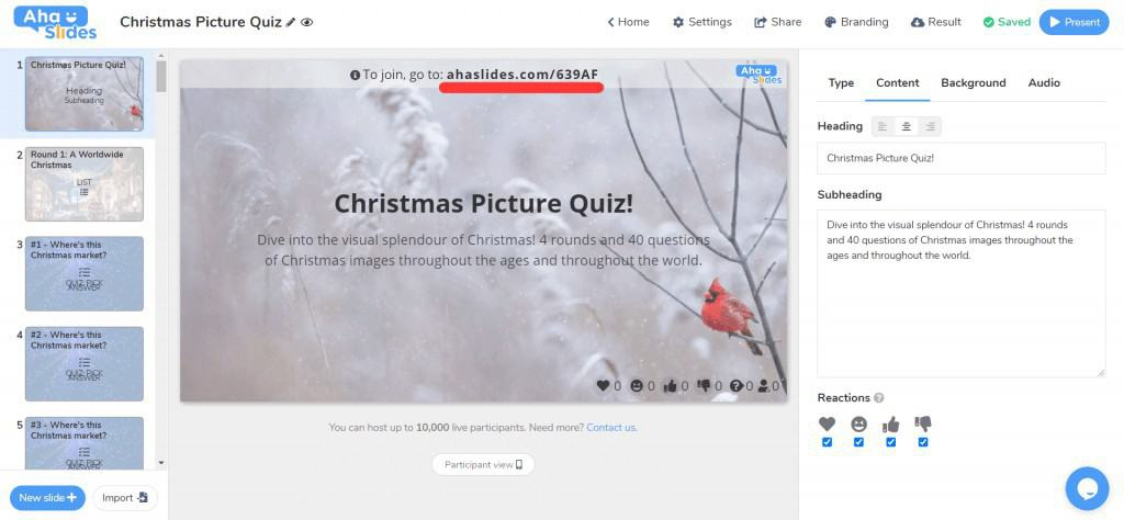How to join the Christmas picture quiz on AhaSlides