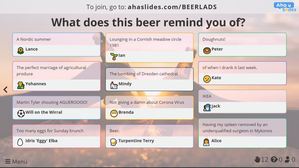 An open-ended slide to gather opinions in a virtual beer tasting.
