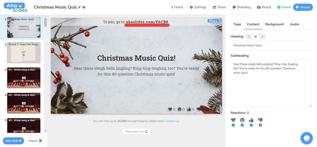 The join code for the Christmas music quiz on AhaSlides.