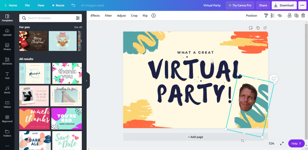 Using Canva for a design competition - a great idea for a virtual party.
