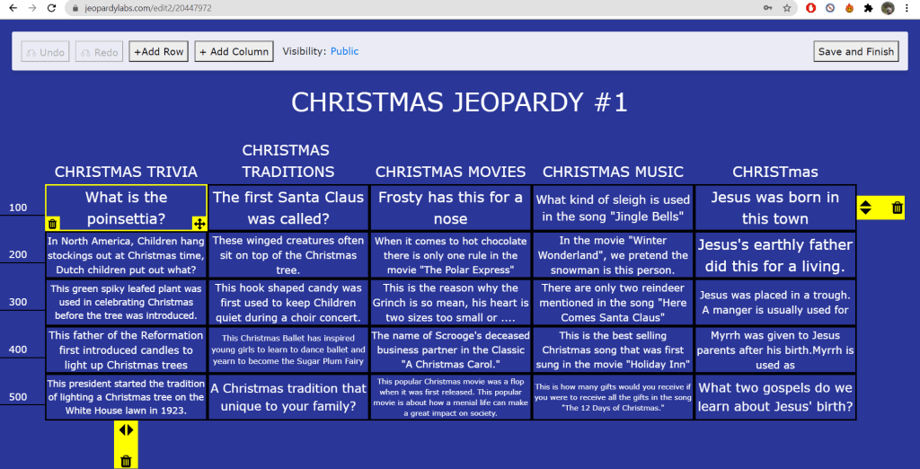 Making a Jeopardy Board for a virtual party using Jeopardy Labs.