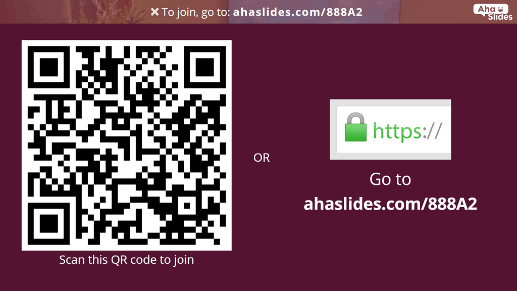 The QR code that grants access for quiz players to the Christmas movie quiz on AhaSlides.