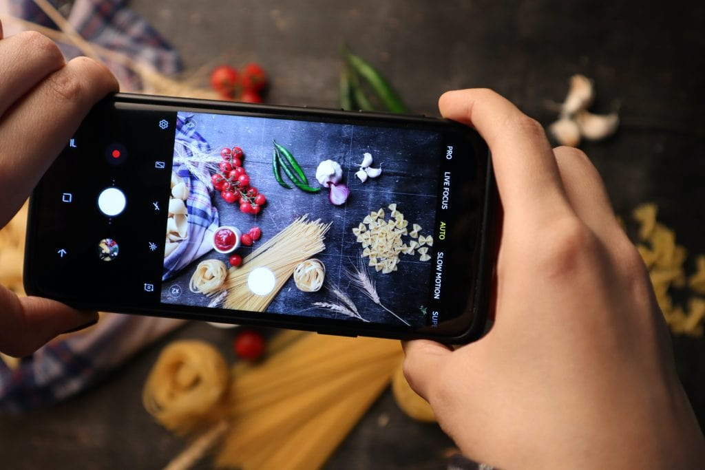 A scavenger hunt for ingredients on a phone.