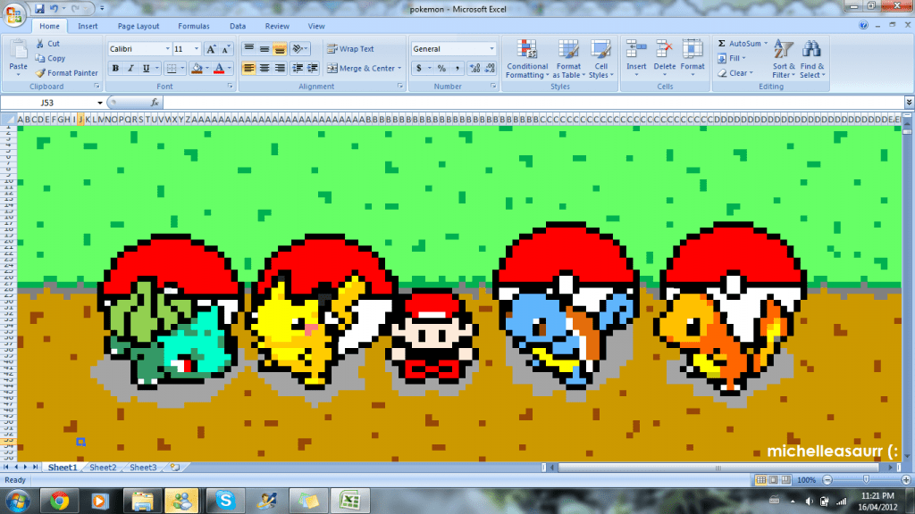 Create beautiful pieces of pixel art using Excel or Google Sheets.