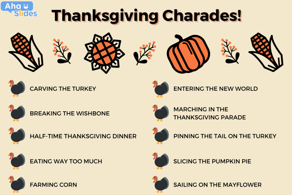 A list of charades to play at a virtual Thanksgiving party.