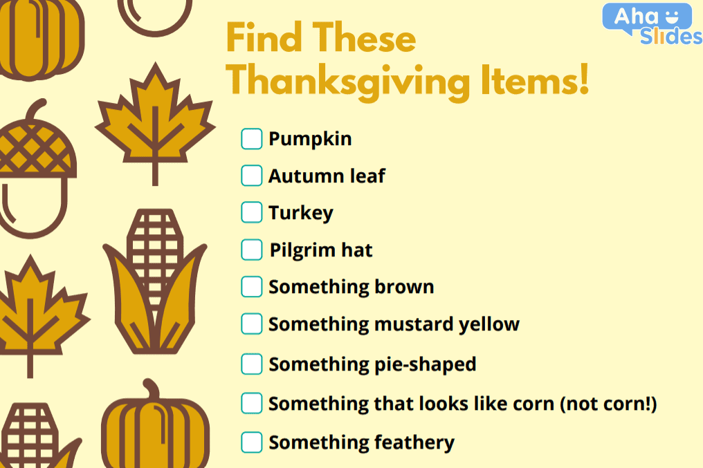 A Thanksgiving scavenger hunt list to use during a virtual party.