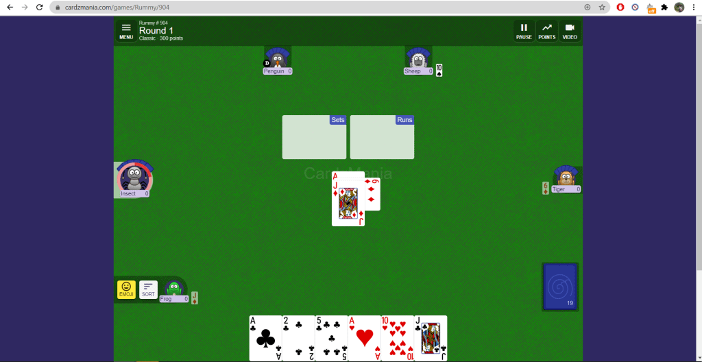 Playing Rummy online using Cardzmania - a great idea for a virtual party.