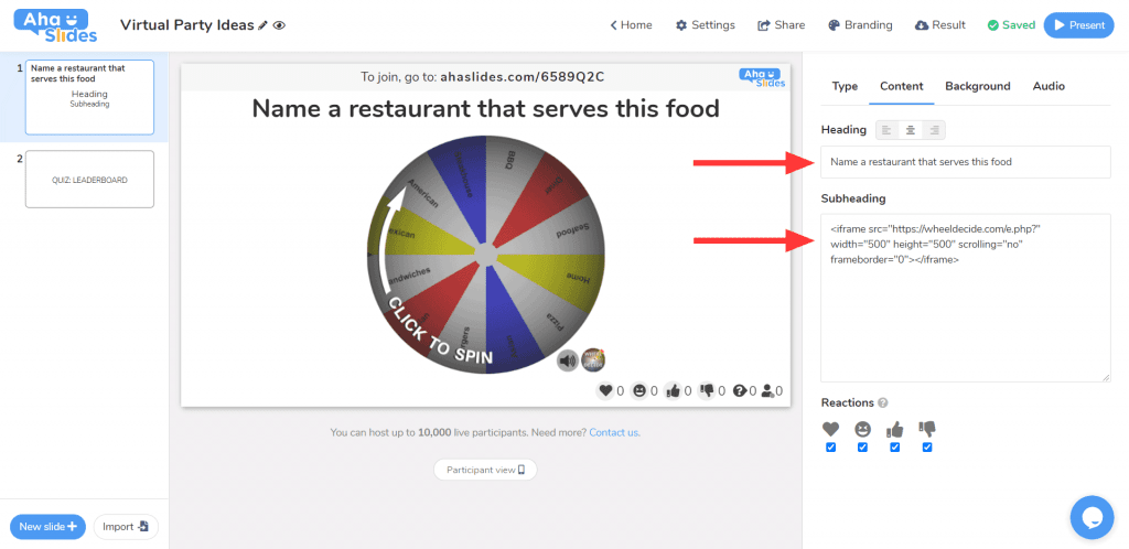 How to embed a spinning wheel and make a wheel decide activity for a virtual party on AhaSlides.