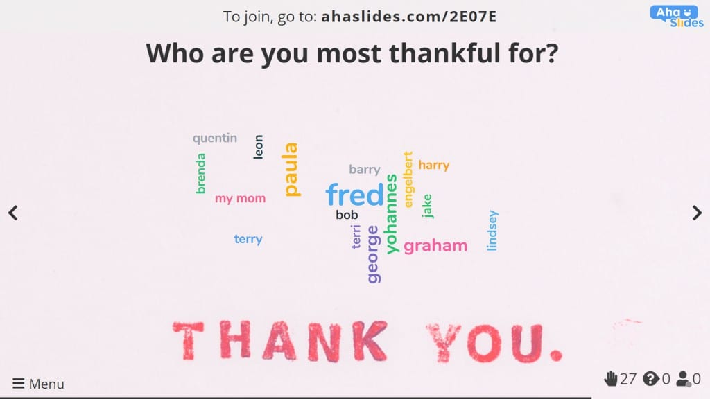 Giving thanks via a word cloud during a virtual Thanksgiving party
