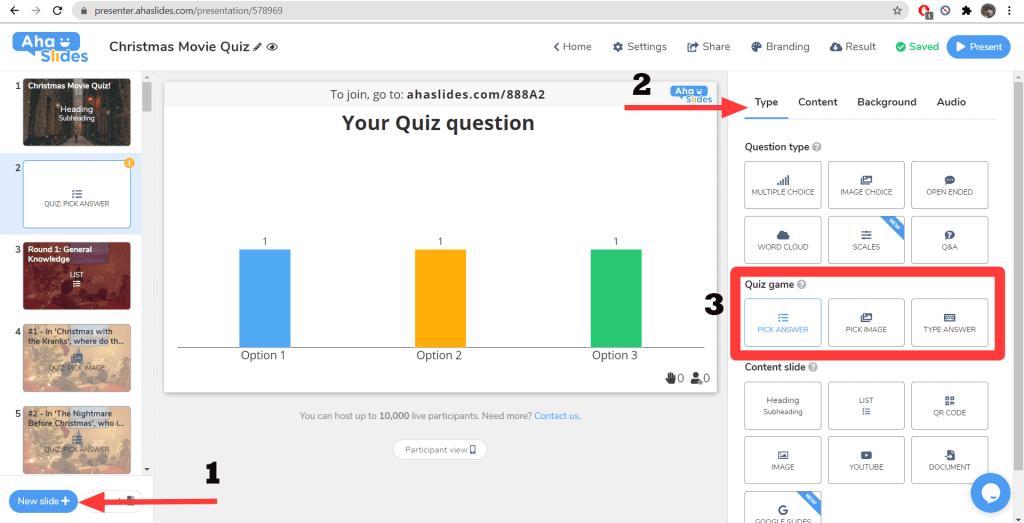 So fügen Sie einem vorgefertigten AhaSlides-Quiz Ihre eigenen Fragen hinzu.