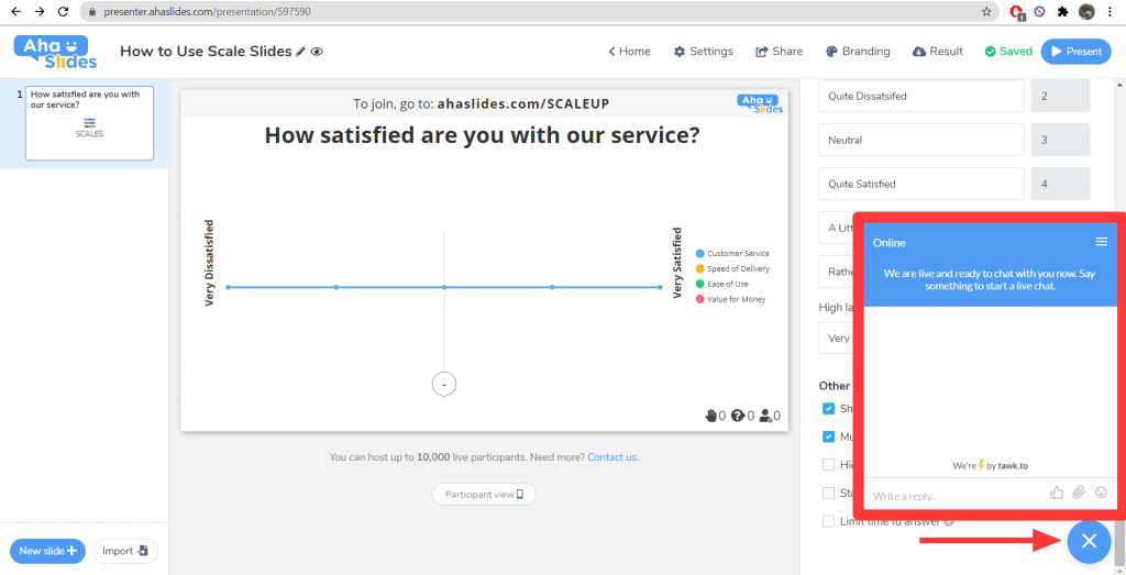 Using the live chat function on AhaSlides.