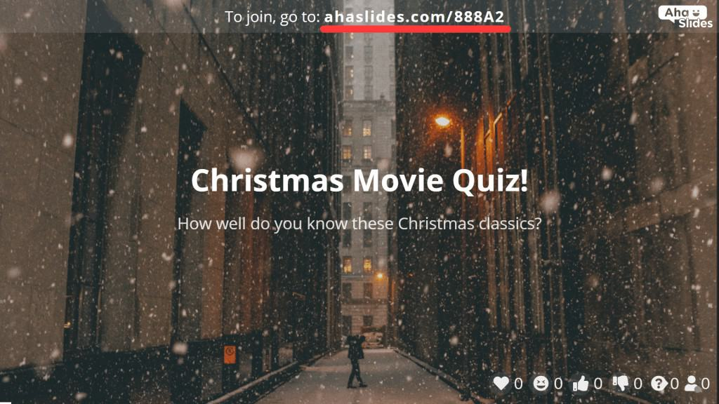 The join code that invites quiz players to the Christmas movie quiz on AhaSlides