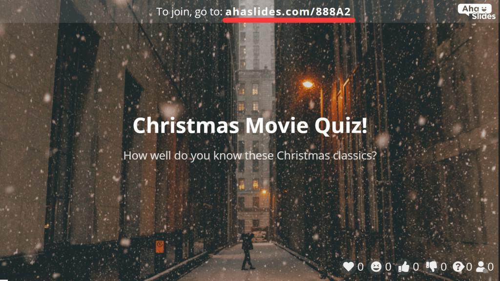 Der Join-Code, der Quiz-Spieler zum Weihnachtsfilm-Quiz auf AhaSlides einlädt