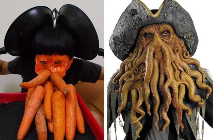 Low Cost Cosplay using carrots to resemble Davey Jones from Pirates of the Caribbean.