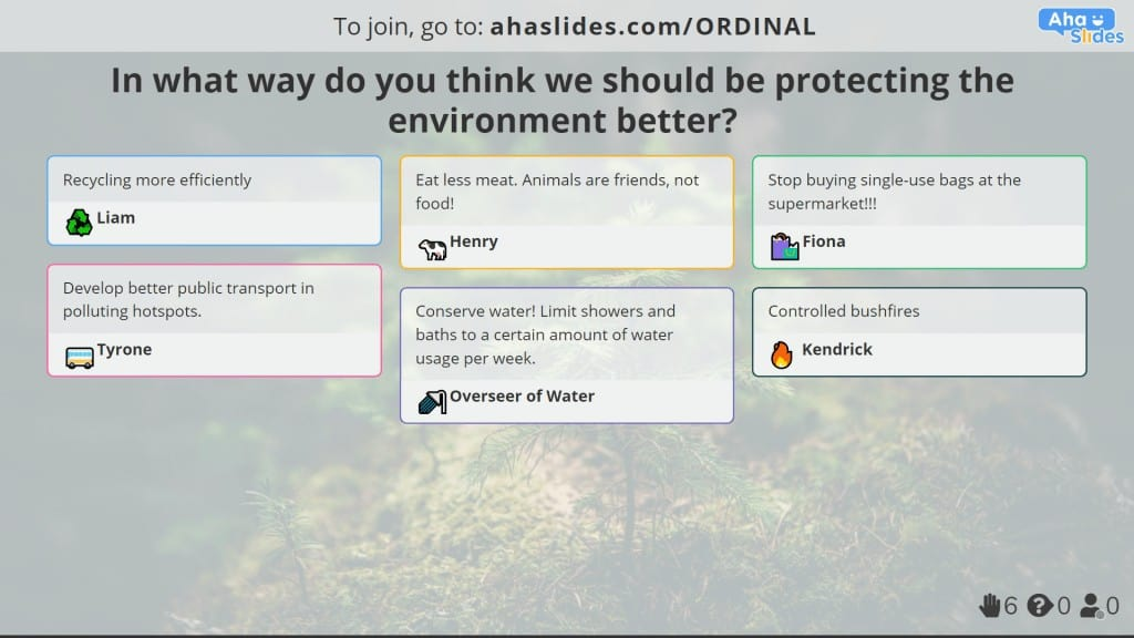 An open-ended poll about environmental protection, made on AhaSlides.