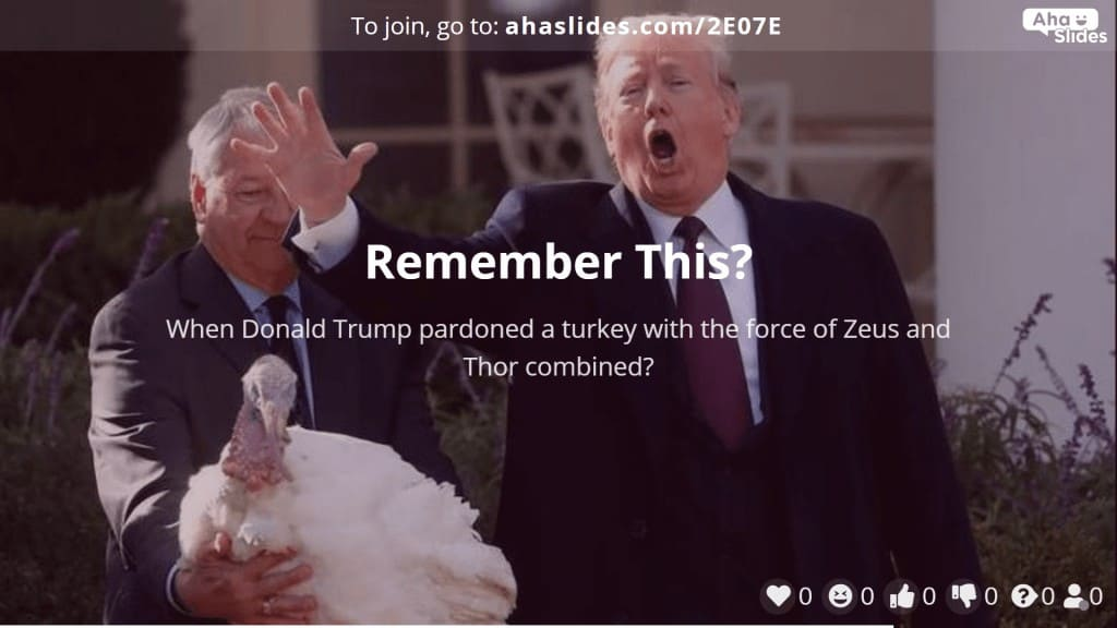 A presentation about Donald Trump and pardoning turkeys on Thanksgiving