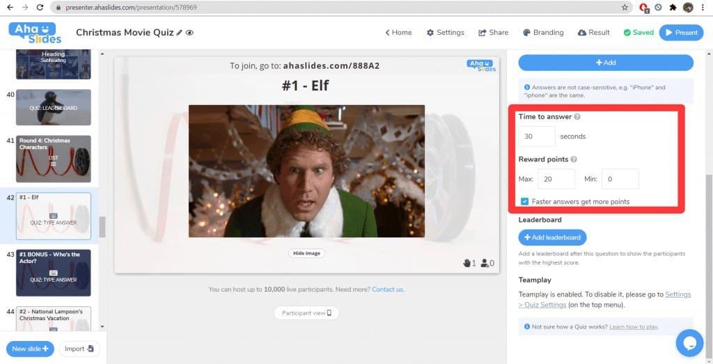 Ändern der Zeitbeschränkungen und des Punktesystems für das Weihnachtsfilm-Quiz auf AhaSlides.