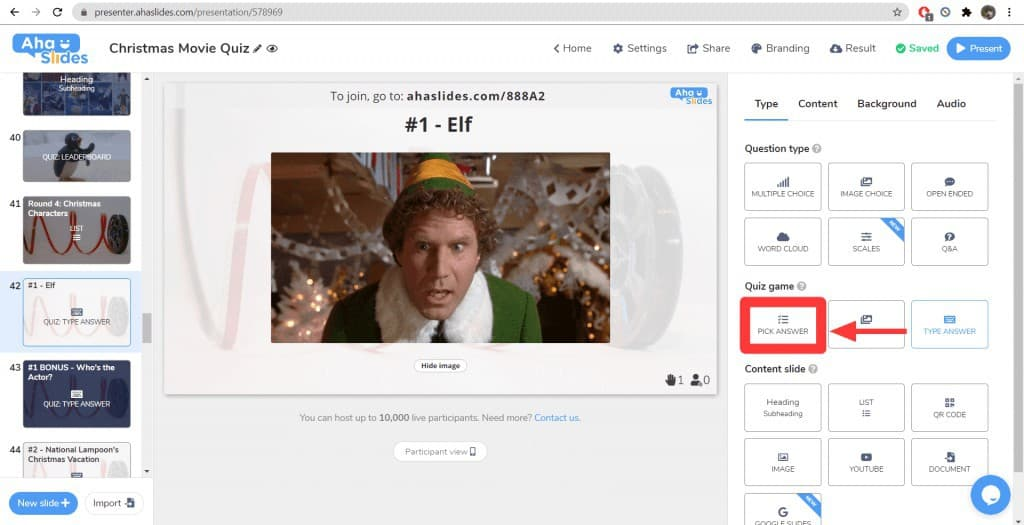 """Ändern einer Folie """"Antwort eingeben"""" in eine Folie """"Antwort auswählen"""" im Weihnachtsfilm-Quiz auf AhaSlides."""