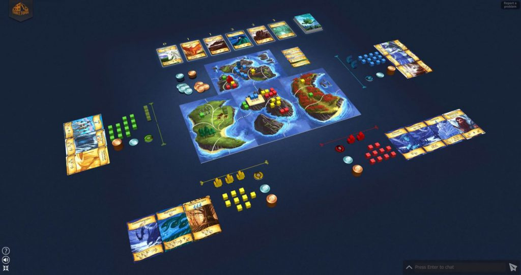 Virtual board games played for free on Tabletopia.