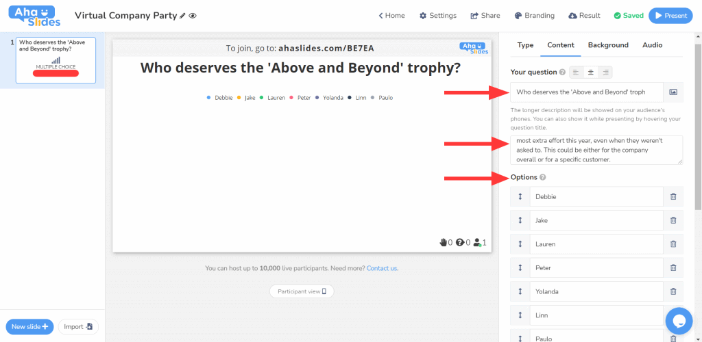 Setting up a vote on AhaSlides for which colleague should win a trophy at a virtual company party.