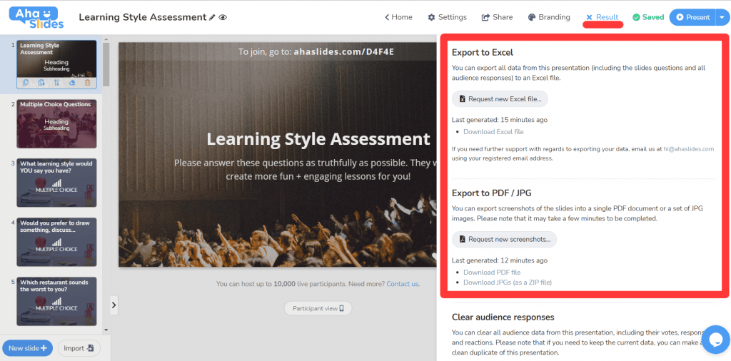 Exporting the completed learning style assessment from AhaSlides to Excel, PDF or JPG form.