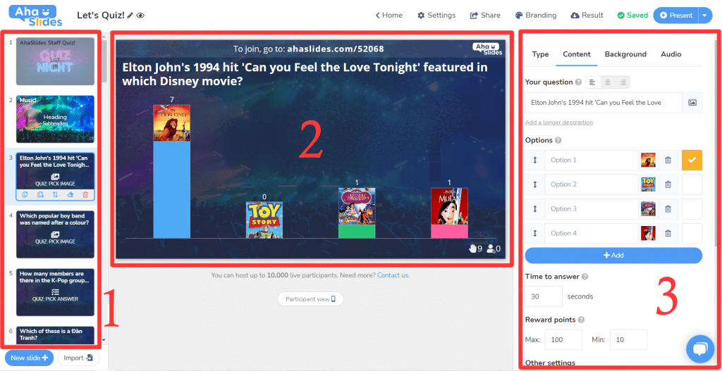 The 3-panel interface of AhaSlides, the best alternative to Kahoot