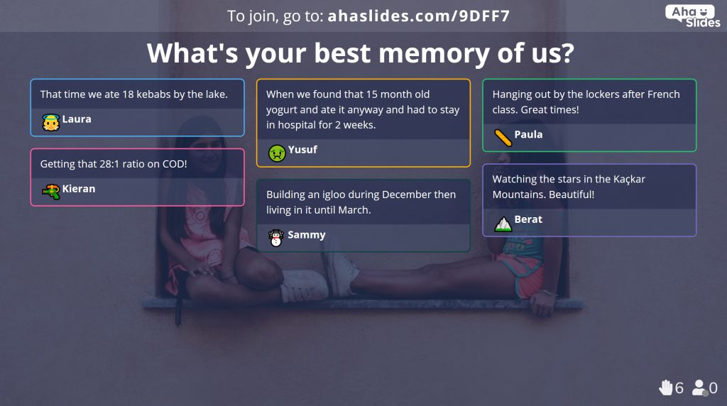 Use open ended slides to let your participants write freely in the best friend quiz.