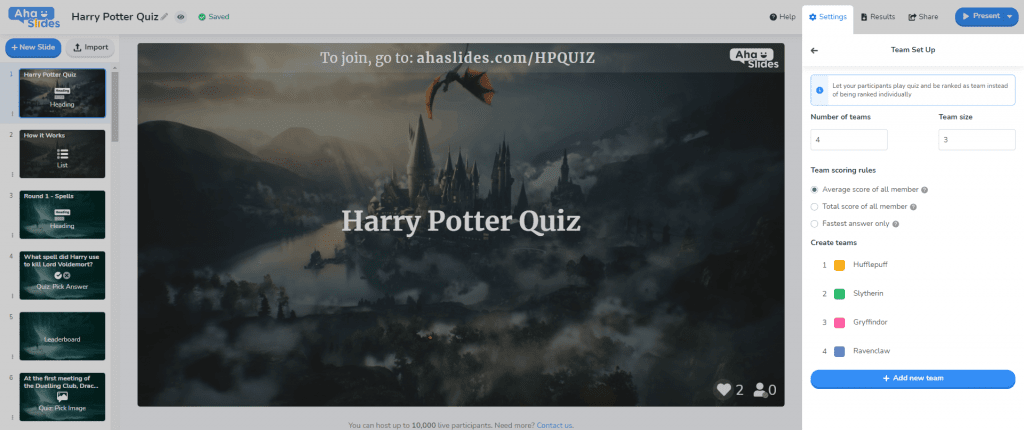 Setting up teams on AhaSlides'  downloadable Harry Potter quiz.