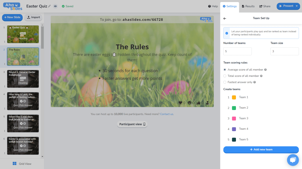 Setting up teams on the Easter quiz on AhaSlides