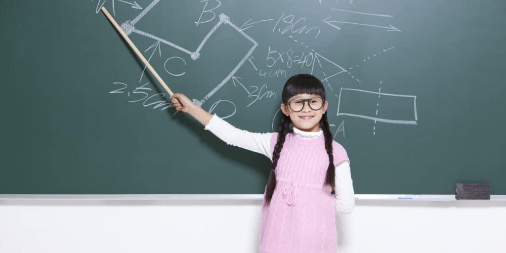 Girl teaching a class.