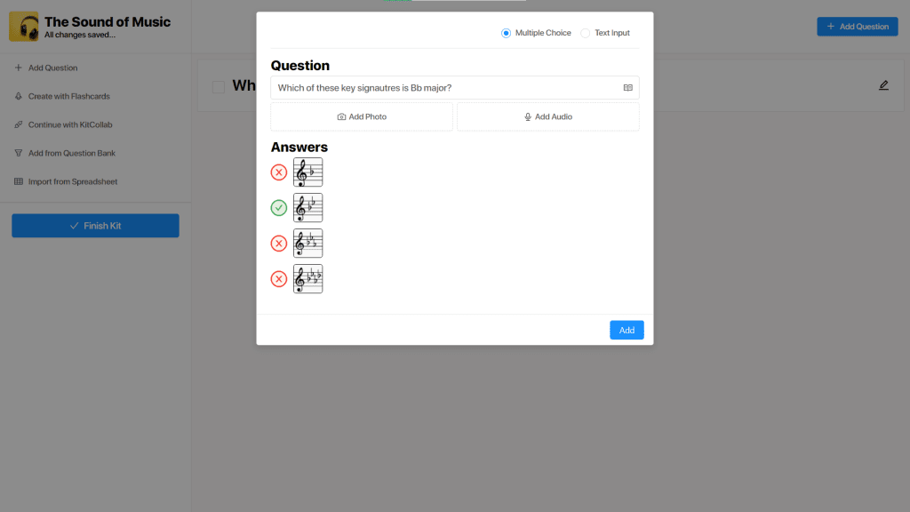 Creating a quiz question about time signatures in music on GimKit Live