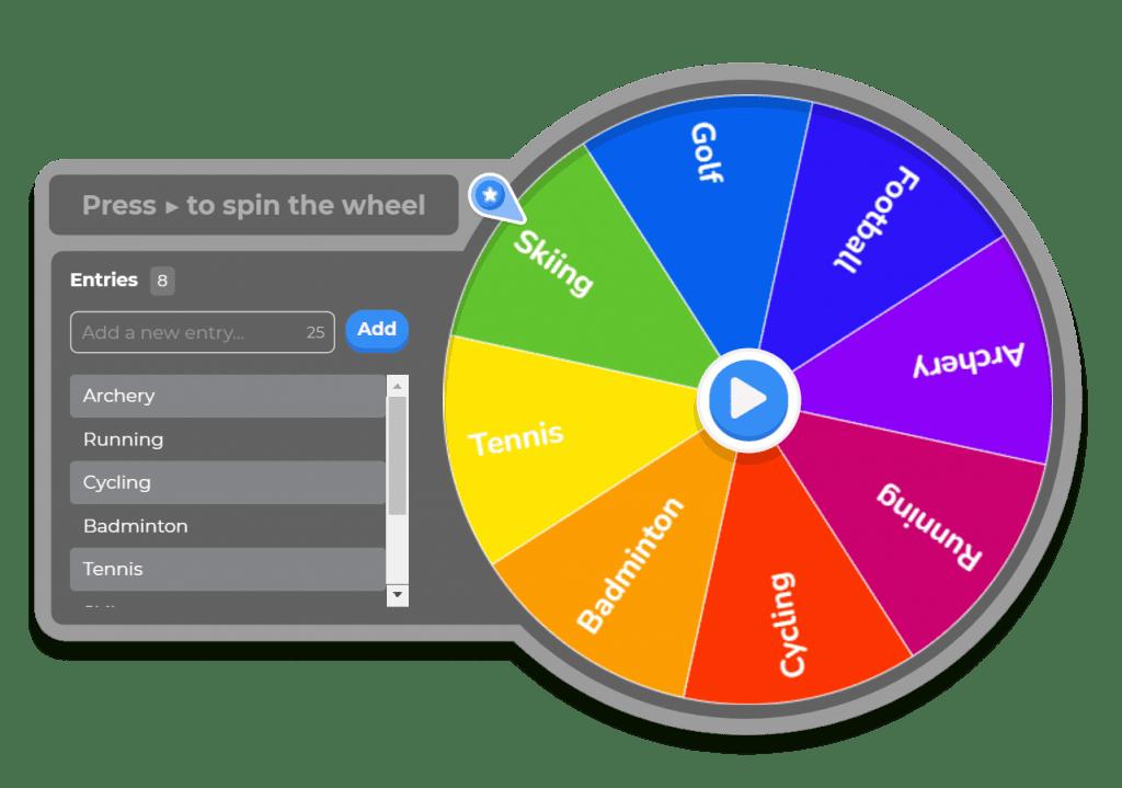 The AhaSlides spinner wheel in dark mode.