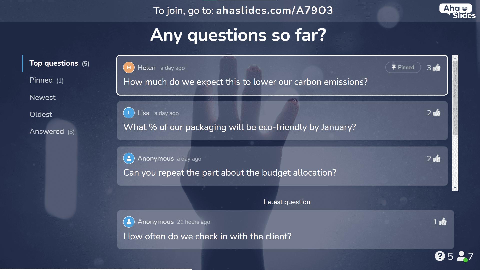 A Q&A slide on AhaSlides.