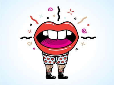 An illustration of the idiom 'all mouth and no trousers'.