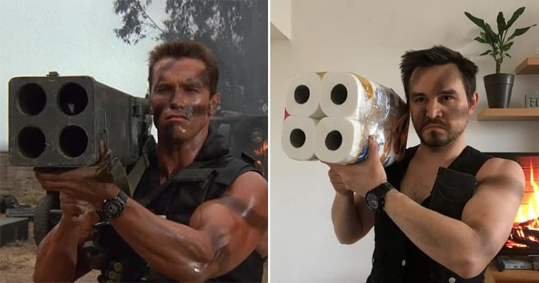 Man recreating a movie with household items.