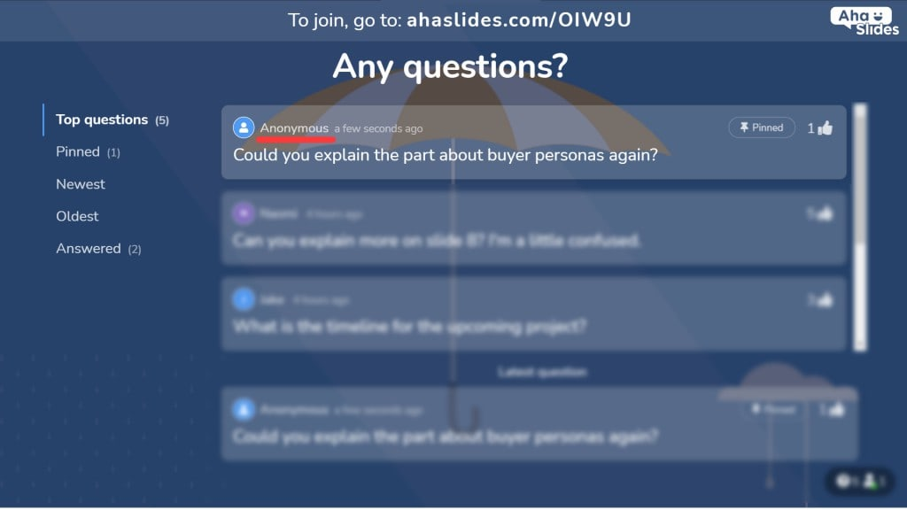 Allowing audience members to submit questions anonymously during an interactive PowerPoint.