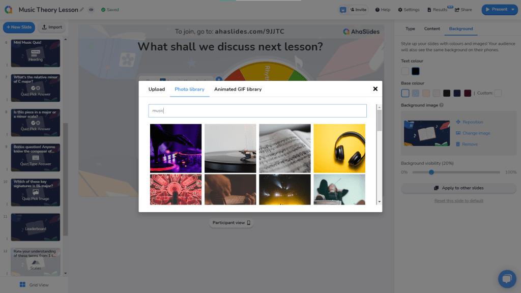 AhaSlides free users have full access to all customisation options.
