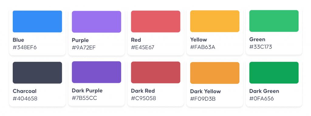 The colour palette of AhaSlides' new branding