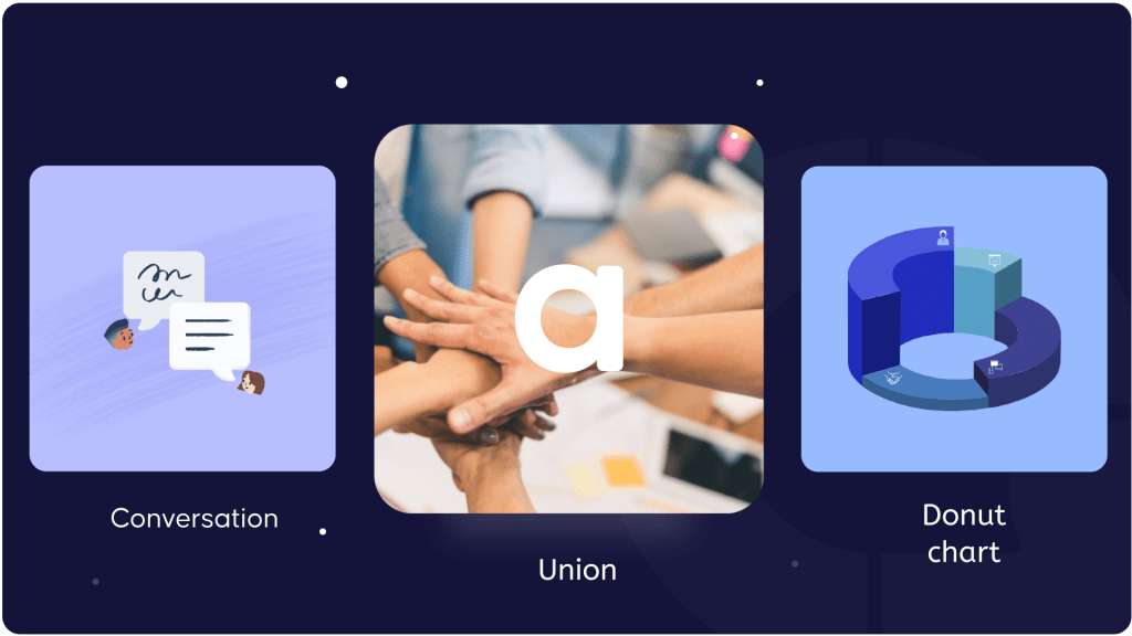 The 3 elements of the new logo mark of AhaSlides