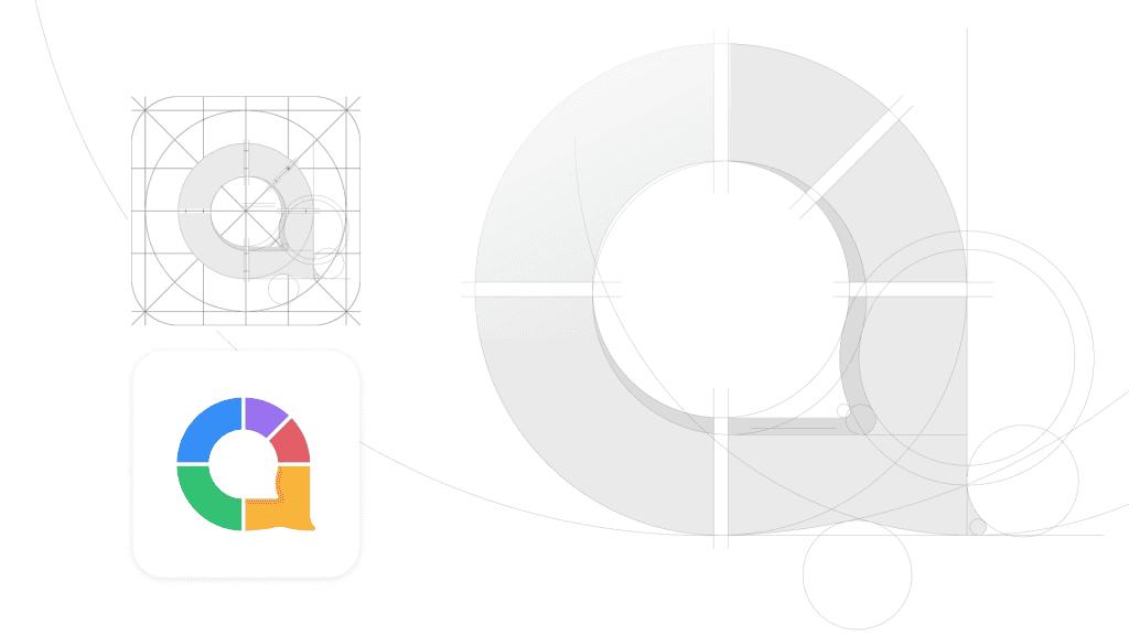The grid system for constructing AhaSlides' logo mark